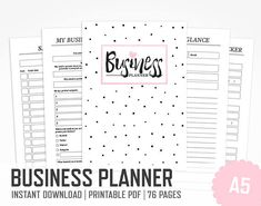 Business Planner / A5 / Etsy Shop Owner Webshop Marketing Social Media Work Home Work Organizer Office Planner Pink / INSTANT DOWNLOAD