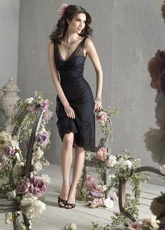 Straps Black Gauze Lacy Satin Sexy Keen Length Bridesmaid Dress