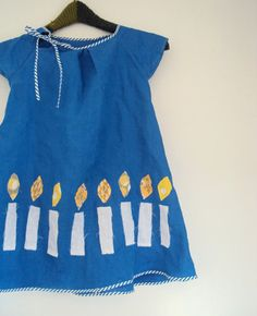 ananemone Hanukkah Dress, girls blue dress with white candles, children's holiday clothing.
