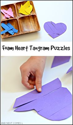 DIY foam heart tangram puzzles for kids - Valentine's math busy bag idea Educational Activities For Kids, Valentine Crafts For Kids, Valentines Day Activities, Preschool Activities, Group Activities, Tangram Puzzles, Valentine Theme, Puzzles For Kids, Business For Kids
