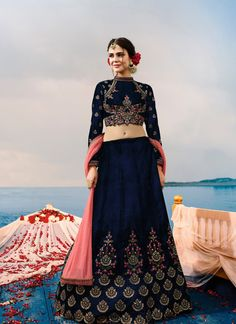Attractive Navy Blue Colored Lehenga Choli