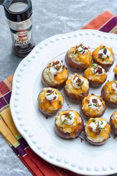 Fully Loaded Twice Baked Potato Bites ~ https://www.fromvalerieskitchen.com