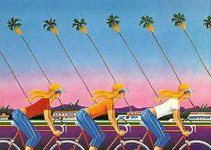1980's ATHENA INT GREETING CARD - 'CALIFORNIA DREAMS' SYD BRAK 3 GIRLS ON BIKES