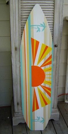 4FT HAWAIIAN SUNRISE sunset SURFBOARD surf WALL Art Beach Surf decor Great sign in Board for a Luau Wedding.  A POP of COLOR EXPLOSION.