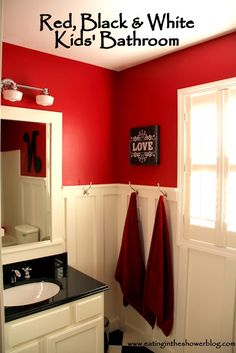 Eating in the Shower: Red, Black & White Kids Bathroom