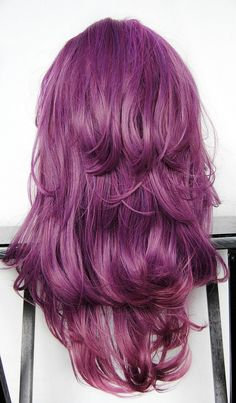 PURPLE PLUM wig // Purple Reverse Ombre Hair // Long Wavy wig. via MissVioletLace on Etsy.