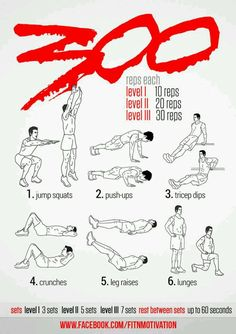 1 - 300 Workout this will be ambitious! 1 - 300 Workout this will be ambitious! 300 Workout, Spartan Workout, Gym Workout Tips, Ab Workout At Home, Workout Challenge, Workout Shirts, Warrior Workout, Fitness Workouts, Fitness Hacks