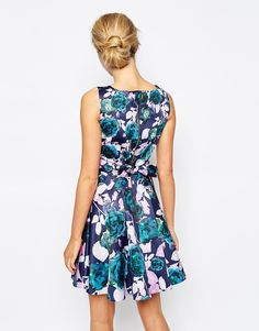 Image 2 of Closet Skater Dress In Contrast Floral Print