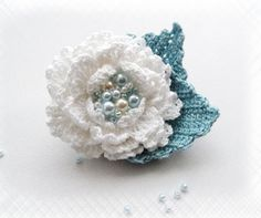 Hand Crochet Beaded Anchor Cotton Corsage Brooch by CraftsbySigita on Etsy