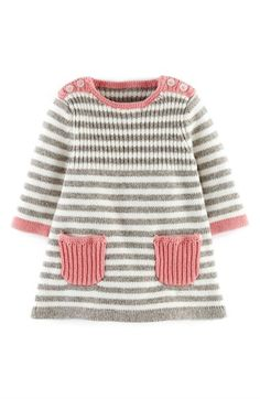 Baby Knitting Patterns Dress Mini Boden 'Stripy' Knit Dress (Baby Girls) available at Baby Knitting Patterns, Knitting For Kids, Baby Patterns, Free Knitting, Crochet Patterns, Mini Boden, Crochet Baby, Knit Crochet, Knit Baby Dress