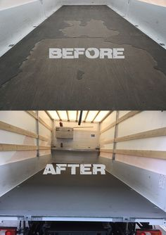 Before and after - anti-slip-floors from KCN for trailers! www.antirutschboden.de