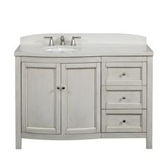 749.00 allen + roth Moravia Antique White Undermount Bathroom Vanity with Engineered Stone Top 48-in x 20-in
