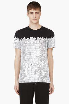KRISVANASSCHE Black & White Croc Print t-shirt
