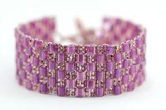 Peyote Bracelet : Wild Lavender. Classic Purple, Lavender and Light Amethyst Square Stitch Beaded Cuff Bracelet by Michaelene Galan