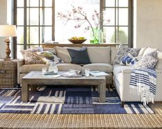 Gojee - Addison Sectional by Williams-Sonoma - Looks so comfy - love the floor cloth over the sisal area rug!