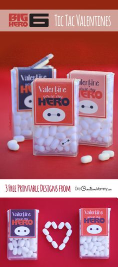 What do Tic Tac candies and Baymax have in common? Find out with Big Hero 6 Valentines! Printable Tic Tac wrappers for your next Valentine party. Kinder Valentines, Disney Valentines, Homemade Valentines, Valentines Day Party, Valentine Day Crafts, Love Valentines, Printable Valentine, Valentine Ideas, Valentine Sayings