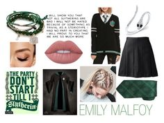 """Emily Malfoy's School Uniform"" by x-emily-herondale-x ❤ liked on Polyvore featuring Avon, Warner Bros., Anne Sisteron, Cufflinks, Inc. and Lime Crime"