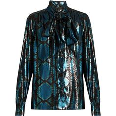 Marc Jacobs Python silk-blend lamé blouse ($1,149) ❤ liked on Polyvore featuring tops, blouses, blue multi, ruched blouse, snake print blouse, tie-neck blouses, long neck ties and neck tie blouse