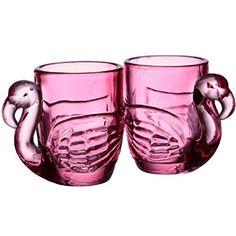 Set of 2 shot glasses with a flamingo design. Shot Glass Set, Mini, Pottery, Stone, Tableware, Gifts, Alcohol, Bar, Glasses