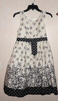 NEW BLACK & WHITE FLORAL PLUS SIZE DRESS BY BONNIE JEAN GIRLS 14 1/2 & 18 1/2