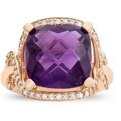 Womens 1/2 CT. T.W. Amethyst 10K Gold Cocktail Ring ($1,000) ❤ liked on Polyvore featuring jewelry, rings, amethyst gold ring, amethyst cocktail ring, yellow gold rings, yellow gold cocktail rings and yellow gold jewelry