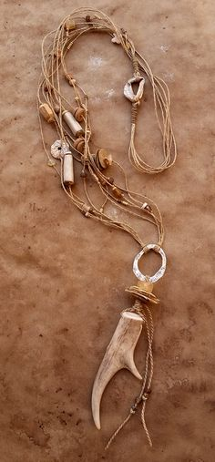 Desert Primitive Ceremonial Antler Talisman + Linen Fiber Necklace + Handmade Fine Silver Elements + Resined Papers + Ancient Beads, Saguaro, Taos Pueblo Clay — Desert Talismans