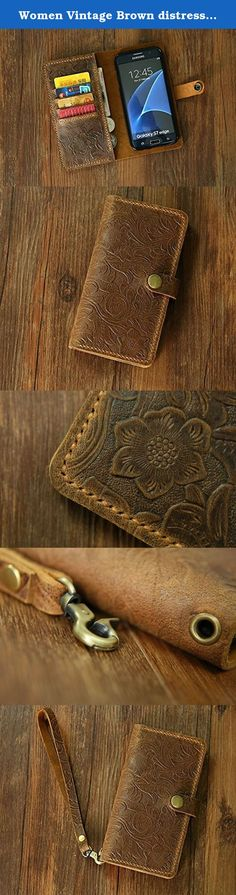 """Women Vintage Brown distressed leather Wristlet GalaxyS7 Edge wallet case mobile wallet / leather Galaxy S6 edge wallet case cover GS20MW-B. **************************************** Why we honor and insist on hand sew our leather product ? Leather sewing machines commonly use the """"lock stitch"""" , If just one loop of a lock stitch is broken, the other side will automatically be loosened, often this process of unraveling will continue until the entire product is ruined. Hand sewing (saddle..."""
