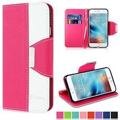 Vakoo Wallet iPhone 6 6s Tasche Leder Brieftasche Etui, Standfunktion, Ledertasche für iPhone 6 6s mit Magnetverschluss und Halteschlaufe, rosa weiss Vakoo http://www.amazon.de/dp/B00XU0B8Y4/ref=cm_sw_r_pi_dp_38nAwb1RCCSC3