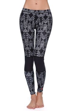 """Billabong Skinny Sea Leggings PacSun.com Online Exclusive! The women's Skinny Sea Leggings by Billabong exclusively for PacSun.com features a tribal pattern throughout and stretch fabric. These wetsuit bottoms offer strategic seam positioning, airlite superflex taping, and stichless sealed seams. Mid rise 8"""" rise 27"""" inseam Measured from a size 6 Model is 5'9"""" and wearing a 6 Imported"""