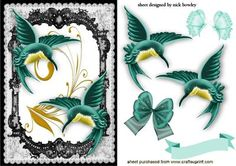 BEAUTIFUL JADE HUMMING BIRDS IN LACE FRAME WITH BUTTERFLIES on Craftsuprint - Add To Basket!