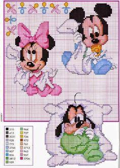 Mickey and friends disney babies. disney cross stitch patterns website not english but heaps pattern squares. Disney Cross Stitch Patterns, Cross Stitch For Kids, Cross Stitch Baby, Cross Stitch Charts, Cross Stitch Designs, Disney Stitch, Cross Stitching, Cross Stitch Embroidery, Embroidery Patterns