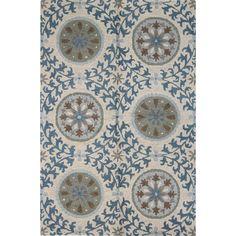 Julia Ivory/Purple/Lilac/Navy Wool Tufted Area Rug
