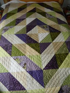 Half Square Triangles Quilt-- the quilting totally takes this from boring to beautiful