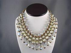 SPECTACULAR! Vtg 1960's Gold P Crystal Fringe Moonglow Collar Bib Necklace