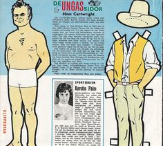 Swedish paper doll of Dan Blocker of Bonaza, Hoss / eBay
