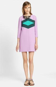 Marni Women's Contrast Diamond Wool Cotton Crepe Dress   Clothing