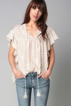 Bouquet Oversize Deby Debo Blouse Relief Blanche Broderie xfTY6Cwq