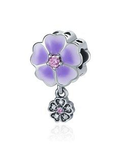 jewellery: Silver Dangle Lilac Enamel Flower Charm!
