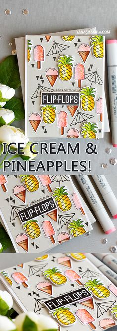 Simon Says Stamp | Ice Cream & Pineapples! Card by Yana Smakula created using Simon's Summertime Animals stamp set.