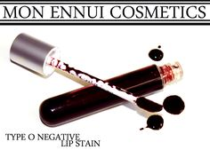 TYPE O NEGATIVE - Lip Stain A deep wine red that can be worn very sheer for a delicate look, or layered for a more bold look. Now with new lab labeling.