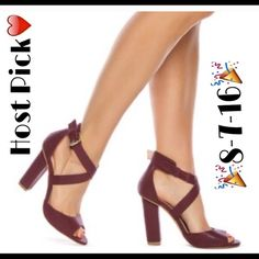 🎉🎉🎉Style Crush HP-8/7/16🔰NWT Britta Sexy Shoes Master the art of breezy sophistication in this seasons LEILA STONE collection. Britta's block-heel and crisscross straps strike a posh desk-to-dinner profile. Maroon color. Comes With Box ❤️ JustFab Shoes Heels