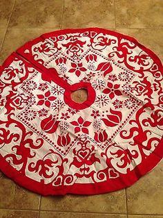 Nordic Scandanavian Christmas Tree Skirt Raised Design Gorgeous Red White | eBay