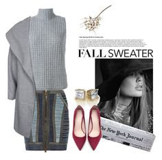 """fall sweater"" by lushxoxo ❤ liked on Polyvore featuring Hervé Léger, Eleventy, ONLY, Kate Spade, Zara, Crate and Barrel, contest, grey, natural and contestentry"