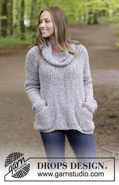 Wellness  - Knitted jumper with rib, pockets and detachable collar. Size: S - XXXL Piece is knitted in DROPS Alpaca Bouclé. Free knitted pattern DROPS 184-24