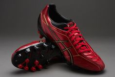 Asics Football Boots - Asics Lethal Shot Stats 2 SK - Soft Ground - Soccer Cleats - Red-Black-Sun
