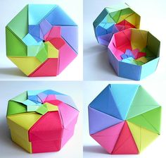 Paperart, Papierkunst Basteln mit Papier Rainbow octagonal flower top box (Tomoko Fuse) by Dahlia_K, Origami Rose, Diy Origami Box, Origami Box Tutorial, Origami Ball, Origami And Kirigami, Origami Butterfly, Useful Origami, Paper Crafts Origami, Easy Paper Crafts