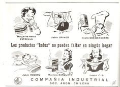 """Los productos """"Indus"""" no pueden faltar en ningún hogar. Jabón Gringo  / Jabón Rococó. Publicado en Guía del Veraneante 1943. Ferrocarriles del Estado."""