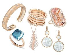 "Think pink!  Rose gold jewels clockwise starting from the left:  Buccellati ""Classica"" 18k Pink Gold & Diamond Cuff Bracelet"