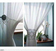 Amarra para cortina tejida a crochet