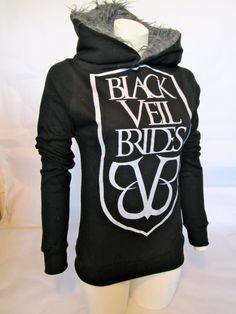 Medium Black Veil Brides fur hoodie* Want!!(: